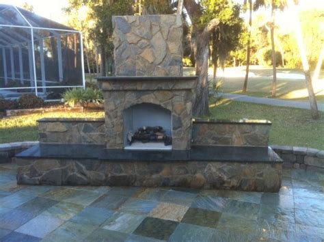 Patio World And Hearth Slate Patio And Outdoor Fireplace With Granite Hearth And