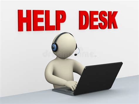 Call Service Desk by 3d With Laptop Help Desk Stock Illustration Image