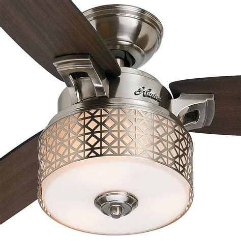 room fans home depot hunter camille 52 in brushed chrome indoor ceiling fan