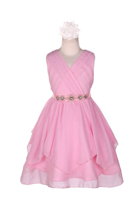 pink v neck flower belt chiffon dress
