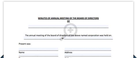 annual board of directors meeting minutes template free meeting minutes template board of directors meeting