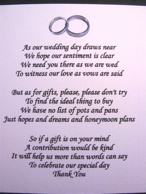 Wedding Gift Money Poem by 20 Wedding Poems Asking For Money Gifts Not Presents Ref No 4