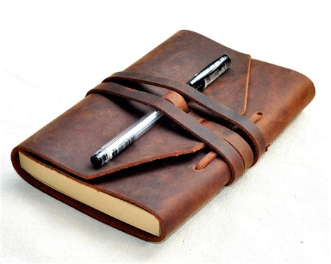 Handmade Leather Notebook - handmade diary leather notebook leather journal travel