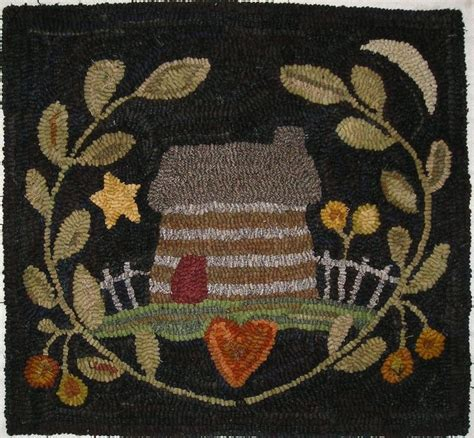primitive hooked rugs made primitive hooked rug settler s cabin folk early style primitive hooked