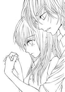 Cute Anime Couples Drawings Crying Sketch Coloring Page sketch template
