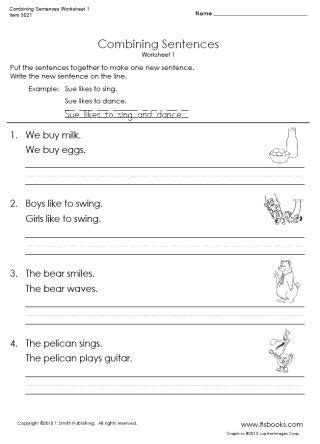snapshot image of combining sentences worksheet 1