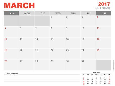 March 2017 Powerpoint Calendar Presentationgo Com Calendar Template For Powerpoint 2017