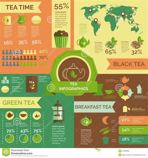 tea consumption world wide infographic layout stock vector