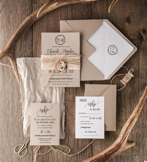 wedding invitations sets rustic wedding invitation set 20 craft wedding