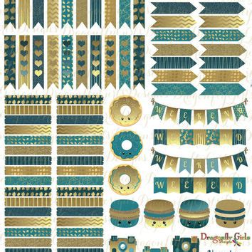 printable gold stickers november teal and gold printable planner from