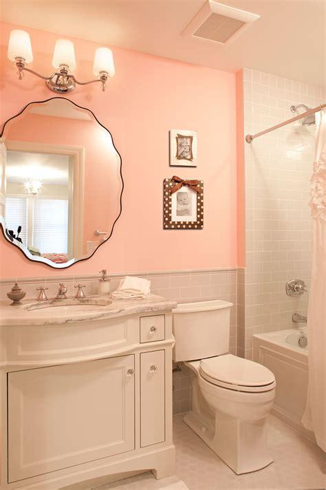 beautiful light pink  gray bathroom  beveled vanity