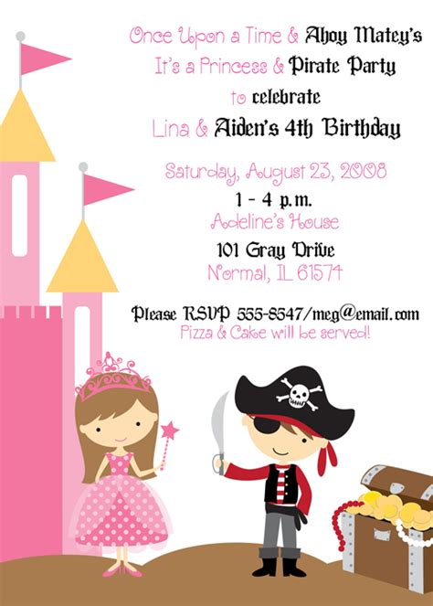 free princess pirate invitations princess and pirate birthday invitations