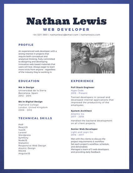 simple resume canva blue border web developer simple resume templates by canva