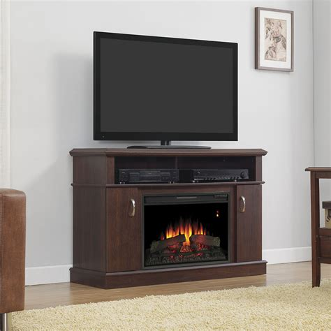 dwell electric fireplace entertainment center in midnight