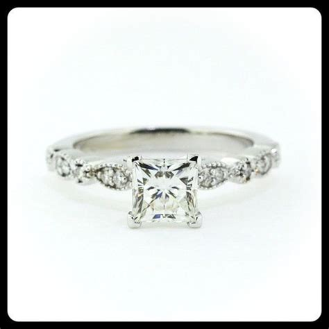 vintage style princess cut engagement ring side