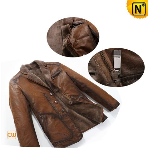 Pantofel Pria Trendy Leather Brown designer warm s brown fur lined leather coat cwmalls