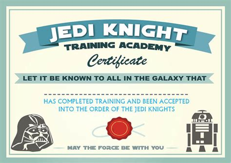 instant dl jedi knight certificate star wars birthday party