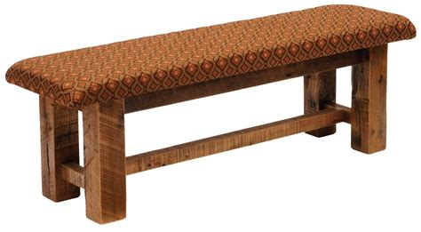 60 upholstered bench barnwood upholstered seat 60 quot standard fabric bench from fireside lodge b16050