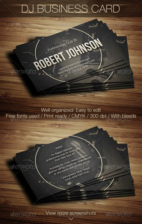 Dj Business Card Templates Psd Free by Modern Dj Business Cards Choice Image Card Design And