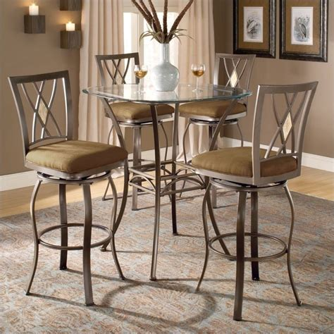 Bar Bistro Table Hillsdale Brookside 5 Bar Height Bistro Table Set With Stools 4815ptbsdm5