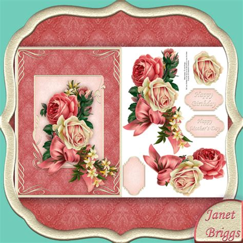Decoupage Cards - vintage roses card front decoupage digital 429vc