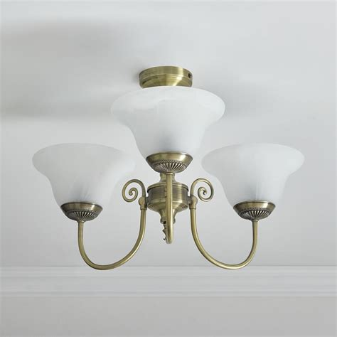 Wilko York Light Fitting Ceiling Antique Brass Effect 3 Fitting Ceiling Light