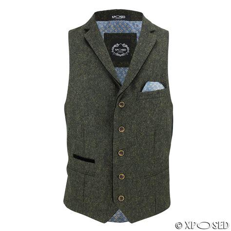 New Vests by New Mens Wool Mix Herringbone Tweed Vintage Collar
