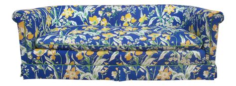 yellow patterned settee 1970s blue yellow floral sofa by highland house of