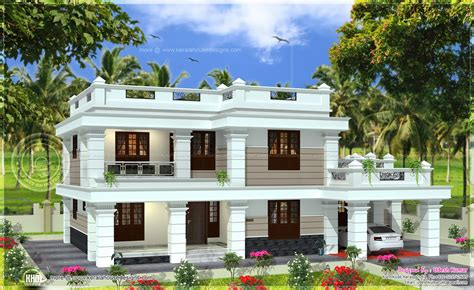 home parapet designs kerala style flat roof house in 2567 square feet home kerala plans