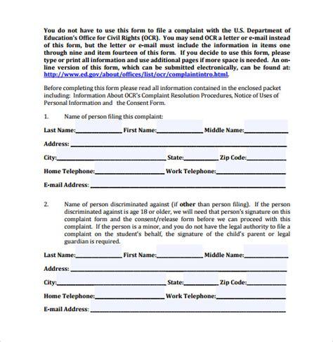 grievance report sle sle discrimination complaint forms 7 28 images