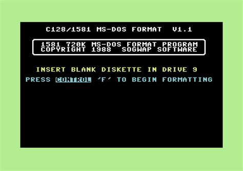 format hard disk ms dos commodore software 1581 floppy drive