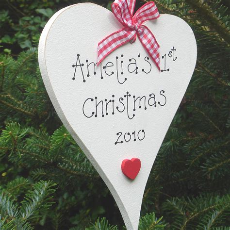 personalised christmas heart decoration by little bird