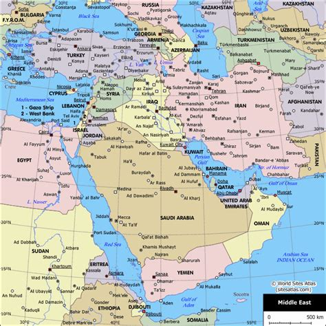 middle east map landforms political map of the middle east world atlas