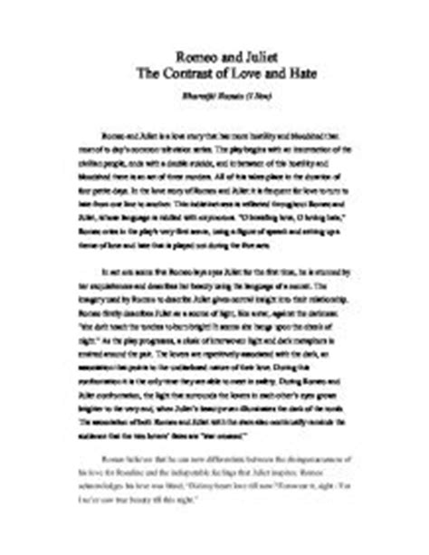 romeo and juliet love theme essay is romeo and juliet about love or hate essay