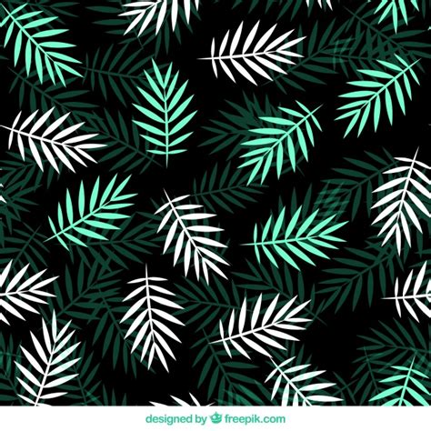 leaves pattern freepik flat pattern with green and white palm leaves vector