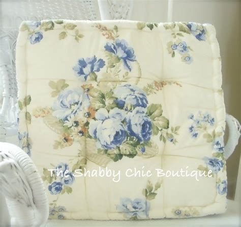 shabby blue chic victorian roses box cushion pads for wicker iron dining chairs
