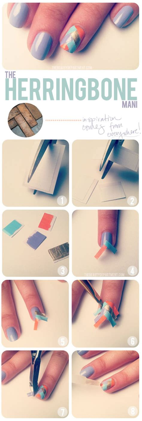 Herringbone Nail Art Tutorial | lovely nail tutorials for all ages