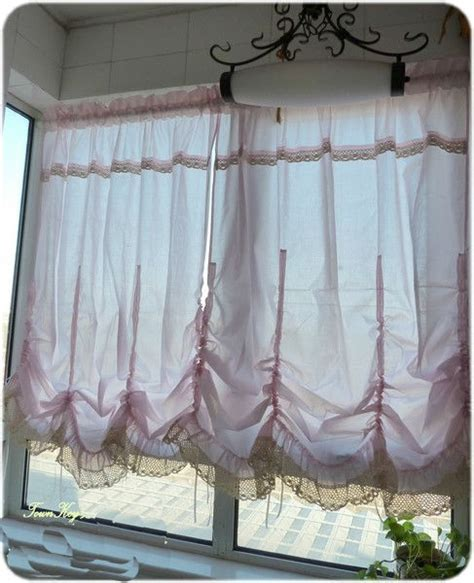 pull curtains one pink pull up balloon curtain lace ruffle 140x180cm ebay