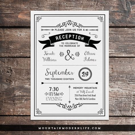 reception cards template black rustic diy reception only invitation invitation
