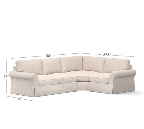 pb comfort roll arm slipcovered 3 sectional with