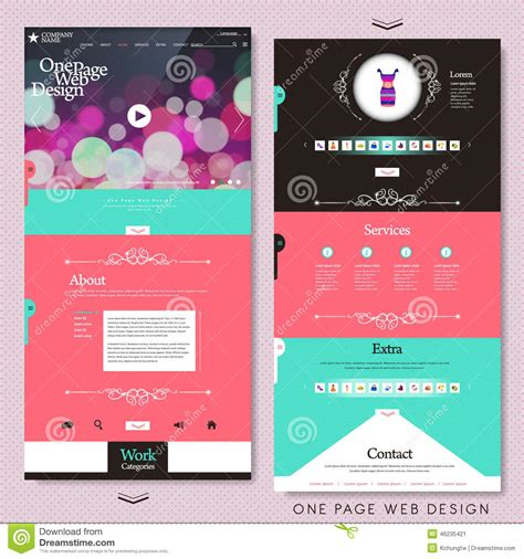 fashion style one page website design template stock