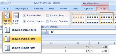 report layout excel 2007 format a pivottable report pivottable 171 pivottable