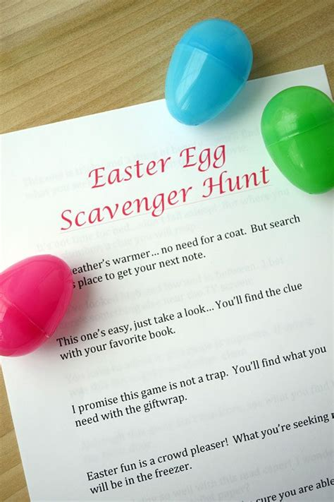 free printable easter egg scavenger hunt clues