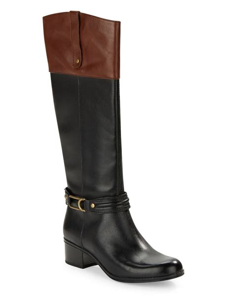 bandolino boots bandolino coloradee leather boots in black lyst