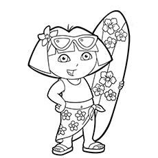 dora swimming coloring pages top 35 free printable summer coloring pages online