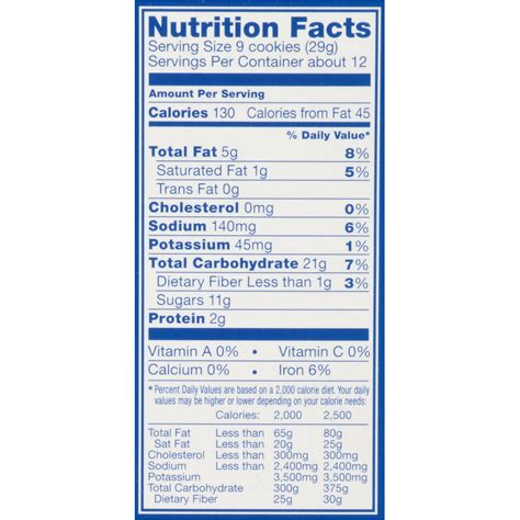 Nutri Facts oreo nutrition facts www pixshark images galleries