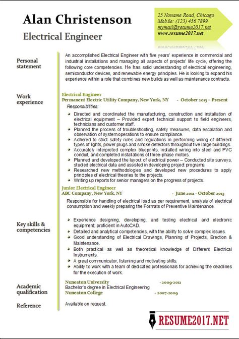 electrical design engineer york engineer 2017 resume exles