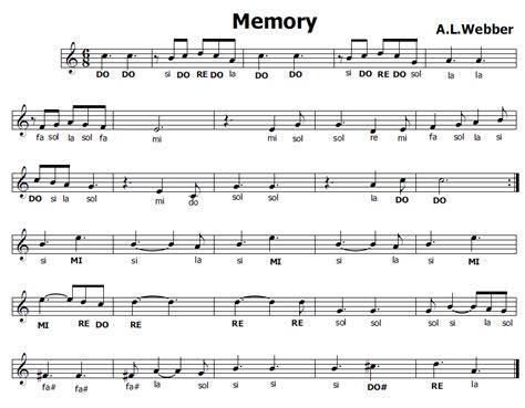 al cats memory musica e spartiti gratis per flauto dolce memory