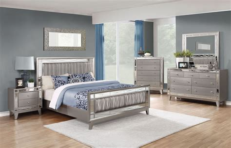 metallic bedroom furniture leighton metallic mercury panel bedroom set from coaster