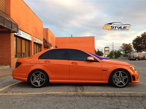 orange mercedes burnt orange c63 vehicle customization shop vinyl car